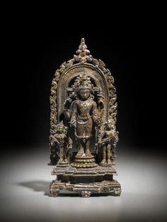 A silver and copper inlaid copper alloy shrine of Vishnu Northeast India, Pala period, 11th century 6-3/4 in.