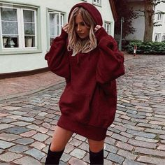 Dona Winter Autumn Sweatshirt for Womens,Solid Color Clothes Hoodies Pullover Coat Hoody Long Tops Blouse Pastel Outfit, Sweatshirt Dress, Sweater Hoodie, Long Hoodie Dress, Mode Outfits, Fashion Outfits, Fashion Women, Style Fashion, Party Fashion