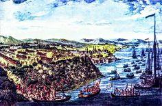 Bataille de Québec en 1759, y compris la flotte britannique arrivant, les troupes du Major-Général James Wolf escaladant les falaises et la bataille contre l'armée française du Marquis de Montcalm sur les hauteurs des Plaines d'Abraham durant la Conquête (Guerre de Sept Ans).https://fr.m.wikipedia.org/wiki/Guerre_de_Sept_Ans