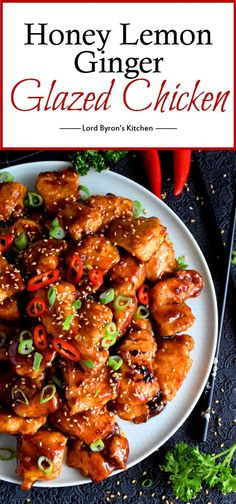 Tender chicken glazed in a thick, sweet, sour, tangy, moist and juicy sauce; Honey Lemon Ginger Glazed Chicken is a dish that gets everyone to the table. Ginger And Honey Chicken, Ginger Pork, Honey Garlic Chicken, Sauce For Chicken, Cashew Chicken, Chicken Bites, Glaze For Chicken, Bbq Chicken, Honey Garlic Sauce