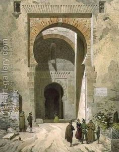 The Gate of Justice, entrance to the Alhambra, Granada by Leon Auguste Asselineau