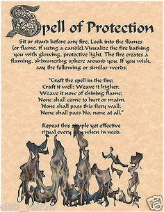 SPELL OF PROTECTION Real Witchcraft Spell Book of Shadows Page BOS Pages