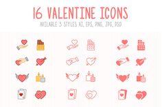 Set of 3 Styles Valentine Icons by ctrlastudio on Creative Market