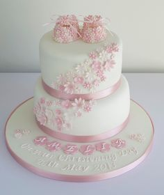 Sugar Ruffles Girls Christening Cake on Cake Central