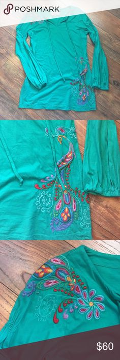 JWLA Johnny Was turquoise tunic with embroidery JWLA Johnny Was turquoise tunic with embroidery size large. Perfect condition. Pit to pit 21 inches, length 32.5 inches. No holds or trades. ❤️❤️❤️ Johnny Was Tops Tunics