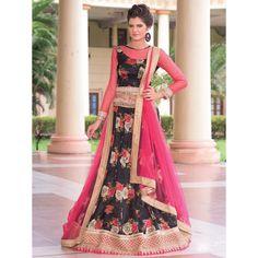 Buy Black Bhagalpuri Silk Lehenga Choli with Mirror Work