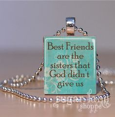 Best Friends Scrabble Necklace  Turquoise Brown by SugarLaneShoppe, $6.95