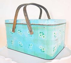 Vintage Metal Picnic Basket Box Wood Handles Hinged by mothrasue, $20.00
