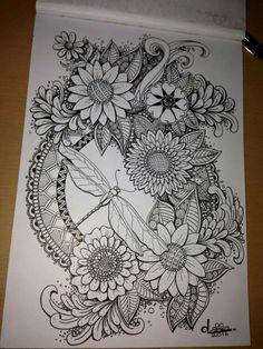 Zentangle Drawings, Zentangle Patterns, Doodle Drawings, Zentangles, Doodle Art, Tattoo Drawings, Mandala Art Lesson, Mandala Drawing, Mandala Tattoo