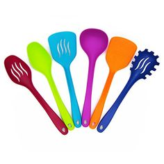 Kitchen Utensil Set 6 Piece Heat Resistant Nylon - Includes Soup Ladle, Flat and Slotted Turners, Solid and Slotted Spoon and Spaghetti Server (Multi Color)