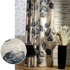 Blackout Lined Curtains Navy Blue Leaf Drapes - Anady Grommet 2 Panel Design Window Curtains Morden Drapes for Bedroom 84 inch length (Customized Available): Kitchen & Dining - Blue And White Curtains, Leaf Curtains, Lined Curtains, Curtains For Sale, Window Curtains, Living Room Drapes, Bedroom Drapes