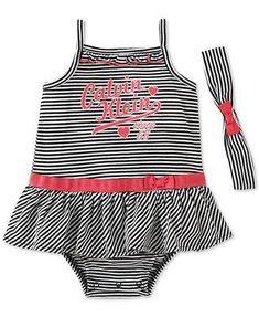 Calvin Klein Baby Girls' 2-Piece Striped Romper & Headband Set