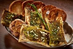Bone Marrow with a five-spice crust and roasted garlic