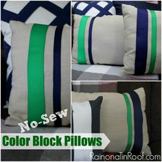 No-Sew Color Block Pillows via RainonaTinRoof.com #nosew #diy #pillow #trashtotreasure