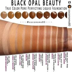Love these @blackopalbeauty Liquid Foundation swatches by @cocomomo80 ! Love Hazelnut in this formula! #CocoaSwatches #Repost ・・・ Black Opal True Color Pore Perfecting Liquid Foundation Swatches (on dark skin) • My Collection • ****EDIT: Thank you to Black Opal for pointing out some of my incorrect undertones. I don't want anyone to be ill-informed. The correct information is: HEAVENLY HONEY (tan shade with a reddish tone), BEAUTIFUL BRONZE (medium brown with a reddish tone), and HAZELNUT…