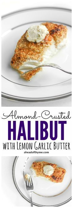 Almond-Crusted Halibut with Lemon Garlic Butter: You won't believe how easy it is to make fresh, flavourful and delicious almond-crusted halibut with lemon garlic butter this season. Pin this healthy, clean eating halibut recipe to try later. Halibut Recipes, Fish Recipes, Seafood Recipes, Cooking Recipes, Healthy Recipes, Pan Cooking, Cooking Fish, Eat Healthy, Delicious Recipes