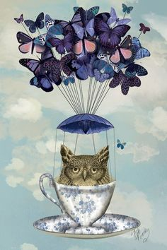 Owl In Teacup by Fab Funky is printed with premium inks for brilliant color and then hand-stretched over museum quality stretcher bars. 60-Day Money Back Guarantee AND Free Return Shipping.