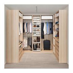 PAX Corner wardrobe - white stained oak effect - IKEA Walk In Robe Designs, Walk In Wardrobe Design, Wardrobe Design Bedroom, Closet Designs, Walking Wardrobe Ideas, Walk In Wardrobe Inspiration, Wardrobe Interior Design, Ikea Pax Corner Wardrobe, Wardrobe Storage