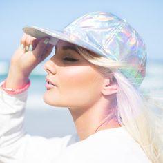 Aerie Holographic futuristic Iridescent baseball Cap Hat Adjustable back NWOT Pastel Grunge, Pastel Goth, Visual Kei, Holographic Fashion, Iridescent Fashion, Creepy, Punk, Hair Makeup, Cute Outfits