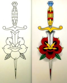 Neo Traditional Dagger and rose done with Copics markers and Micron pens. Neo-Traditional Dagger and Rose Traditional Tattoo Stencils, Traditional Dagger Tattoo, Traditional Tattoo Design, Traditional Tattoo Outline, Tattoo Old School, Daggar Tattoo, Stencils Tatuagem, Dagger Drawing, Dessin Old School