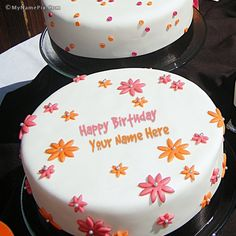 Best Website for name birthday cakes. Write your name on Flowers Birthday Cakes picture in seconds. Make your birthday awesome with new happy birthday greetings cakes. Get unique happy birthday cake with name. Birthday Card With Name, Friends Birthday Cake, Birthday Love, Birthday Cakes, Birthday Greetings For Girlfriend, Happy Birthday Greetings, Birthday Cake Pictures, Happy Birthday Images, Cake For Husband