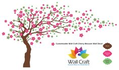 Wall Craft Cherry Blossom Wall Sticker in Brown, Fandango Pink and Opaline Green.