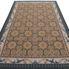 6' x 9' Hand-Woven Wool French Aubusson Flat Weave Rug New Free Shipping