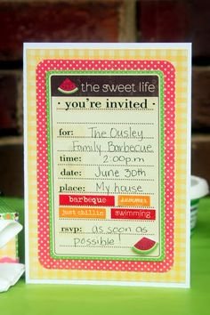SRM Stickers - @Christine Ousley created this wonderful Summer themed party invitation using SRM Stickers You're Invited Blank sticker.