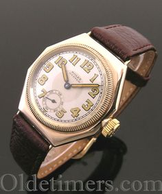 An early 9k Gold Octagonal Vintage Rolex Oyster watch, 1928.