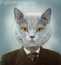 5x7 Cat Art Mr Gray Ice Blue and Brown Altered VIntage by frighten, $15.00