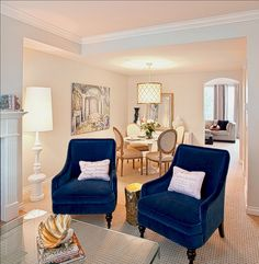 Blue Living Room Chairs – Home Interior Design Ideas Blue Accent Chairs, Accent Chairs For Living Room, Living Room Grey, Living Room Decor, Dining Room, Navy Blue Dining Chairs, Accent Walls, Table Design, Chair Design