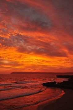 A fiery sunset over the headland at Venus Bay, South Australia | nature | | sunrise | | sunset | #nature https://biopop.com/