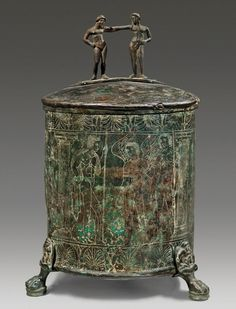 Etruscan Praenestine cista with engravings of the Dioscuri and the Judgment of Paris, 4th century B.C.