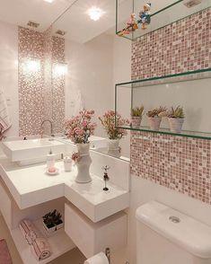 Glass bathroom - 40 The Best Bathroom Glass Shelves Design Ideas Bathroom Design Small, Bathroom Interior Design, Interior Design Living Room, Kitchen Interior, Bad Inspiration, Bathroom Inspiration, Pink Home Decor, Glass Bathroom, White Bathroom
