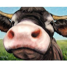 Cow Farm Animal Art Print of Original Painting by by DottieDracos