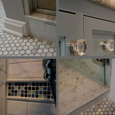 The Cararra marble is also featured in the shower door surround and small hexigonal floor, where gray grout was used in the main floor to hide dirt while white grout was used in the shower to hide soap residue. A small mosaic tile feature strip adds interest and helps pull the color palette together