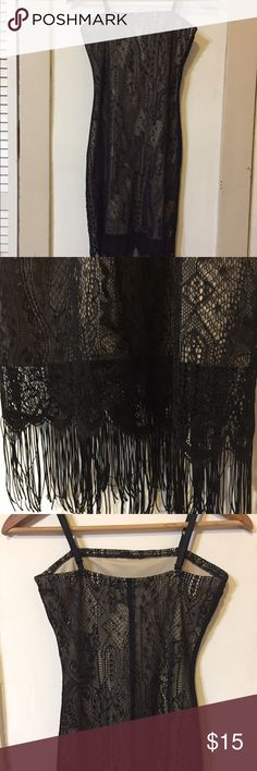 Vintage Miss California slip dress Vintage late 90s Miss California black/cream slip dress with black lace overlay & fringed hem. EUC, very well looked after. Someone's been looking for this gem since 1999, I'm sure! Pair with combat boots & a choker, obviously. Miss California Dresses