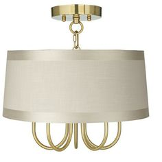 "Wynwood Gold 16"" Wide Off-White Drum Ceiling Light - #Y8386-X9979 | LampsPlus.com"