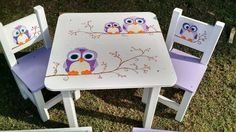 Kids Table And Chairs, Kid Table, Wooden Toy Chest, Wooden Toys, Kids Furniture, Painted Furniture, Wood Projects, Projects To Try, Hand Painted Chairs