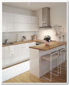 45 suprising small kitchen design ideas and decor 5 - Küche Ideen Kitchen Room Design, Kitchen Sets, Modern Kitchen Design, Home Decor Kitchen, Interior Design Kitchen, New Kitchen, Home Kitchens, Kitchen Dining, Kitchen Small