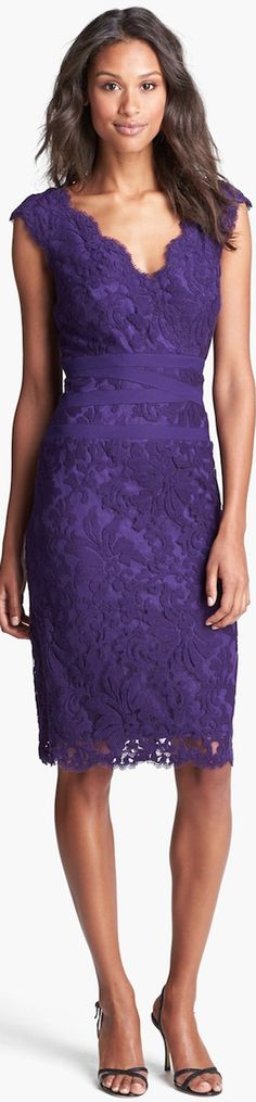 Tadashi Shoji lace dress | The color story of purple | Chic lady in purple lace dress | Celebrate her occasion with #Thejewelryhut fashion designer color gemstone jewelry gift of LoVe