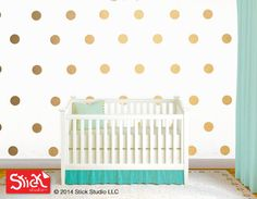 Polka dot wall decals Gold polka dot wall decal by StickStudioLLC