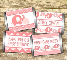 Items similar to Mini Candy Wrappers - Baby Shower Girl, Elephant Baby Shower, Pink Elephant Baby Shower, Baby Shower Favors, Personalized Hershey on Etsy Baby Shower Favors, Baby Shower Invitations, White Baby Showers, Candy Bar Wrappers, Pink Elephant, Baby Bottles, Paper Goods, Ontario, Shower Ideas