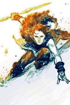 Young Loki; green-eyed, mist-born  ice-spear in one hand  stag-hunting come dawn  streak of shade on a bone-pale land.