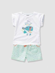 15ed60308 Pijama con short niña BLANCO CLARO LISO CON MOTIVOS