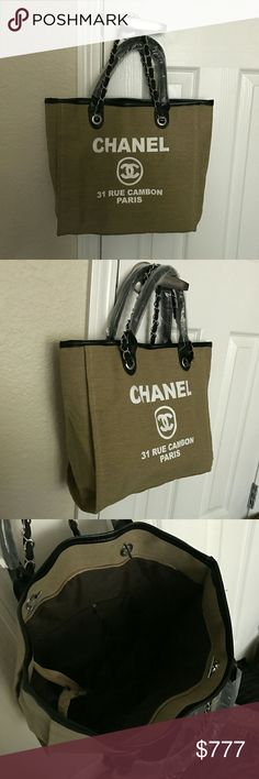 $100 ⏪ Beach tote Brand new , canvas olive M size bag, double set of handles , no dust bag. Not original brand. CHANEL Bags Mini Bags