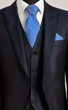 Blue Silk Three Piece Morning Suit