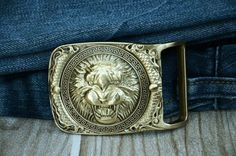 Mens Belt buckle brass buckle for mens strap beast by rateaa