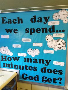 Church bulletin board for teen room. How much of our time does God get?