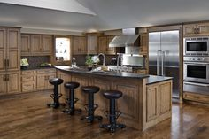 A Lakeside Respite - Designed by the Countertop Shoppe. Featuring custom stained cabinetry and the gourmet Galley sink. www.mycountertopshoppe.com